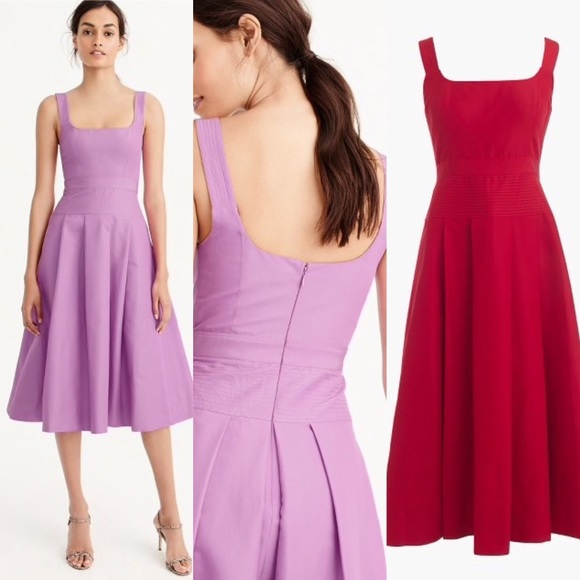 J Crew Red Pleated Dress In Faille | Poshmark